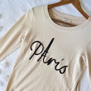 Ann Taylor Loft Cream Paris Crew Neck Sweater!